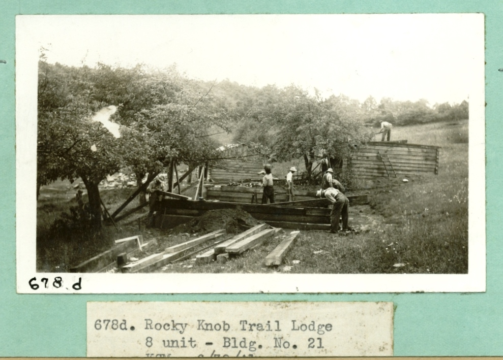 """One of the """"trail lodges"""" under construction, [1941?]"""