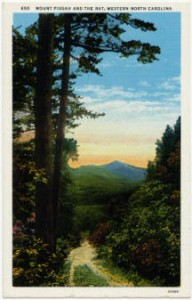 A landscape scene on a postcard displays Mt. Pisgah and the peaks resembling a rat on the mountain.
