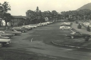 The new Pisgah Inn building and a parking lot (1973)