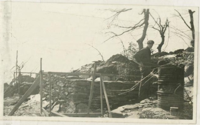 Trail shelter under construction, March 1937
