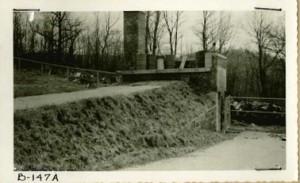 Incinerator and mountain peaks, circa 1950
