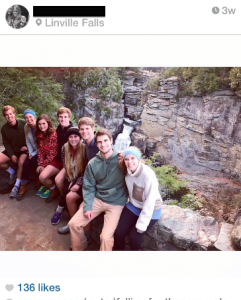 Hikers enjoying the day at Linville Falls. Instagram. November 2014.