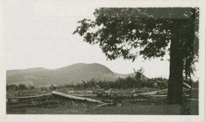 View of Rocky Knob with worm fencing, 1935